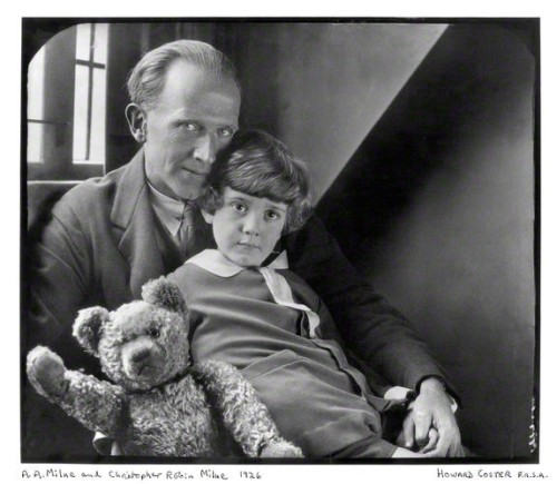 NPG x19574; Alan Alexander ('A.A.') Milne; Christopher Robin Milne and Pooh Bear by Howard Coster